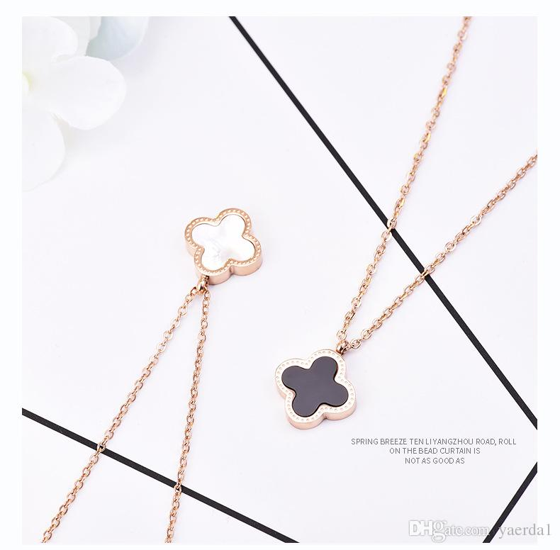 2018 Japan and South Korea Clover Necklace Female Clavicle Titanium Steel 14K Rose Gold Girlfriends Birthday Gift Sen Simple Pendant