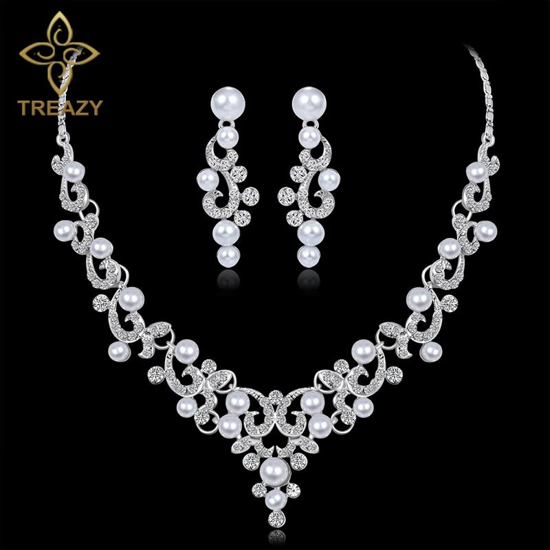 86fb2ed3e6 TREAZY Fashion Simulated Pearl Bridal Jewelry Sets Silver Color Crystal  Floral Necklace Earrings Sets 2018 Wedding Jewelry Set