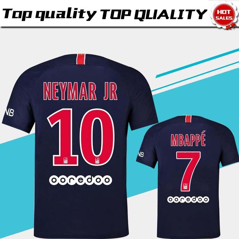 ee98729d44e 2019 2019  10 NEYMAR JR PSG Home Soccer Jersey 18 19  7 MBAPPE Blue Soccer  Shirt  9 CAVANI Paris Saint Germain Football Uniform 2018 Size S 4XL From  ...