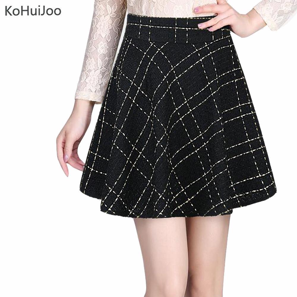 ca5353cb4ea 2019 KoHuiJoo 2018 Autumn Winter Ladies Black Short Wool Tweed Skirt For  Women New Korean OL High Waist Umbrella Skirts Elastic Waist From Harrvey