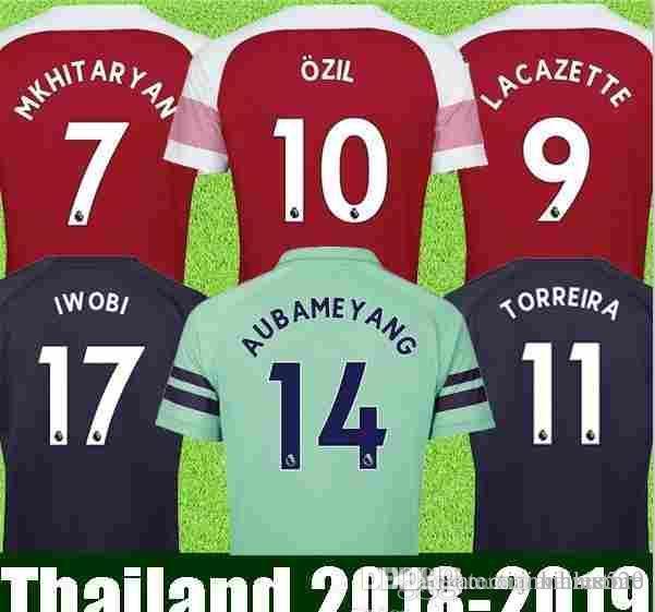Camiseta De Fútbol Tailandia Arsenal 2018 2019 AUBAMEYANG MKHITARYAN OZIL  JERSEY 18 19 LACAZETTE XHAKA TORREIRA Kit De Fútbol Camiseta De Fútbol Por  ... b1e50c0c6917c