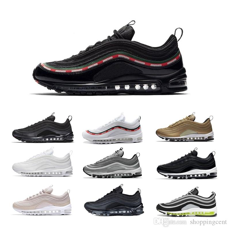 05d56dd55437 Classic 97 OG Running Shoes Mens 3M 97s Premium Triple White Black Metallic  Gold Silver Bullet Sneakers Womens Air Sports Boots Size 36-46 Premium  Running ...