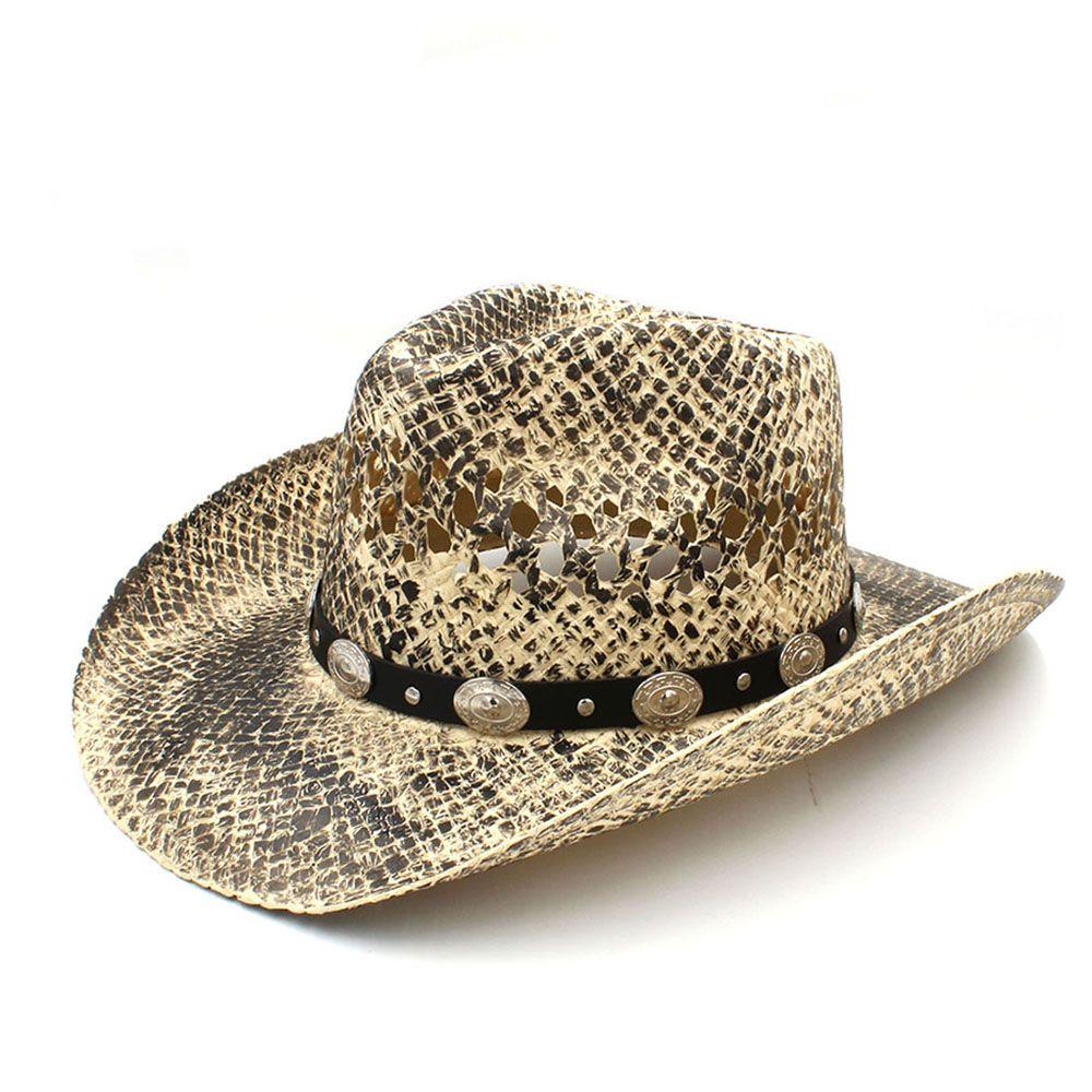 Acquista Moda Donna Uomo Western Cappello Da Cowboy Handmade Tessuto Paglia  Papà Sombrero Hombre Cowgirl Jazz Caps Punk Cintura Fascia Taglia 56 58CM A  ... 3c3d47cb3bd4