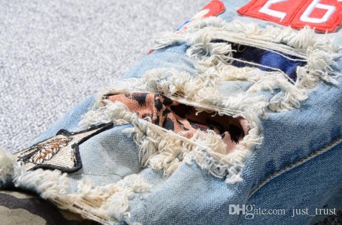 TOP Hommes Jeans Déchiré Distressed patch Jeans célèbre populaire Embroidery beauté hommes Droite Coton Denim Jeans Grande Taille