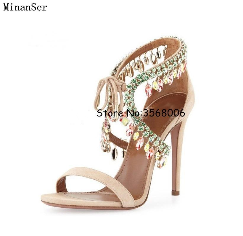 d669e9efc8fbce Luxury Style Diamond Cross Strap Ankle Wrap Sandals Crystal Fringed Woman  High Heels Shoes Wedding Party Dress Rhinestone Shoes Sandles Wedge Booties  From ...