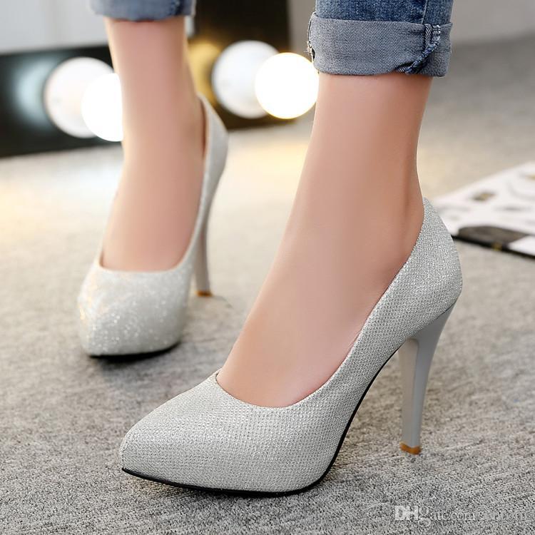 3f3d530e74442d Acheter Escarpins 2018 Classique Pointu New Fashion Suede Chaussures Femme  Big 40 41 42 43 44 Small 33 Haut Talon 9.5CM Plateforme 1.5cm Taille 32 45  De ...