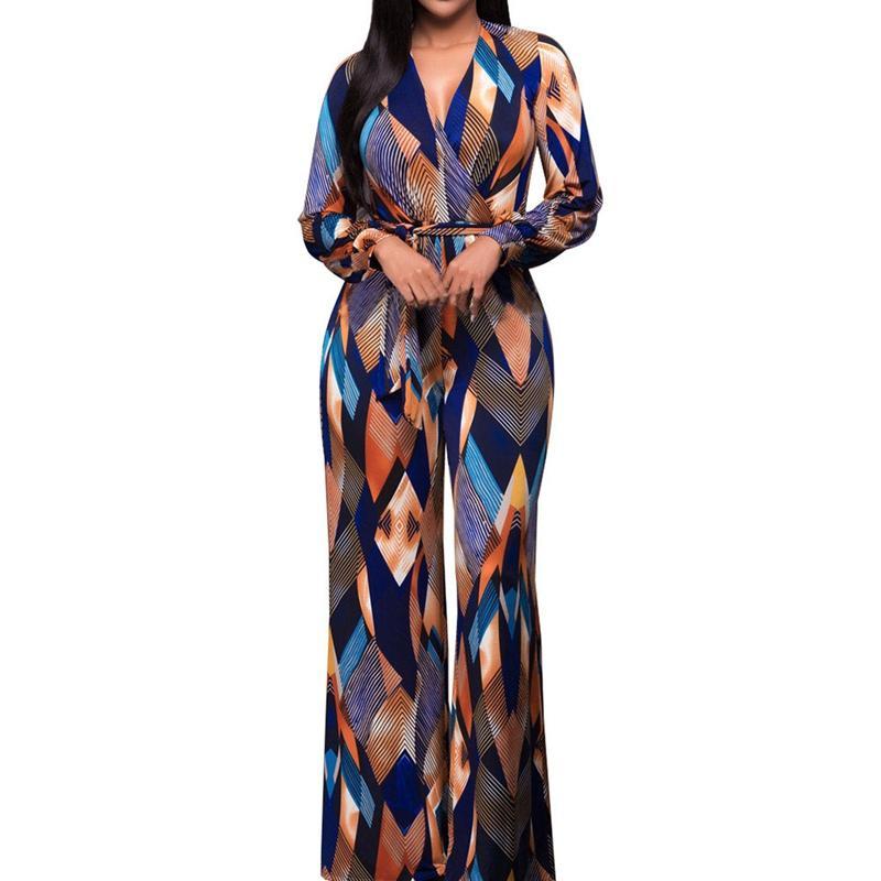 9873f994c7a5 2018 Autumn Fashion Big Jumpsuit Romper Women Long Sleeve High Elastic  Overalls Lace Up Wide Leg Jumpsuit Plus Size Long Pants
