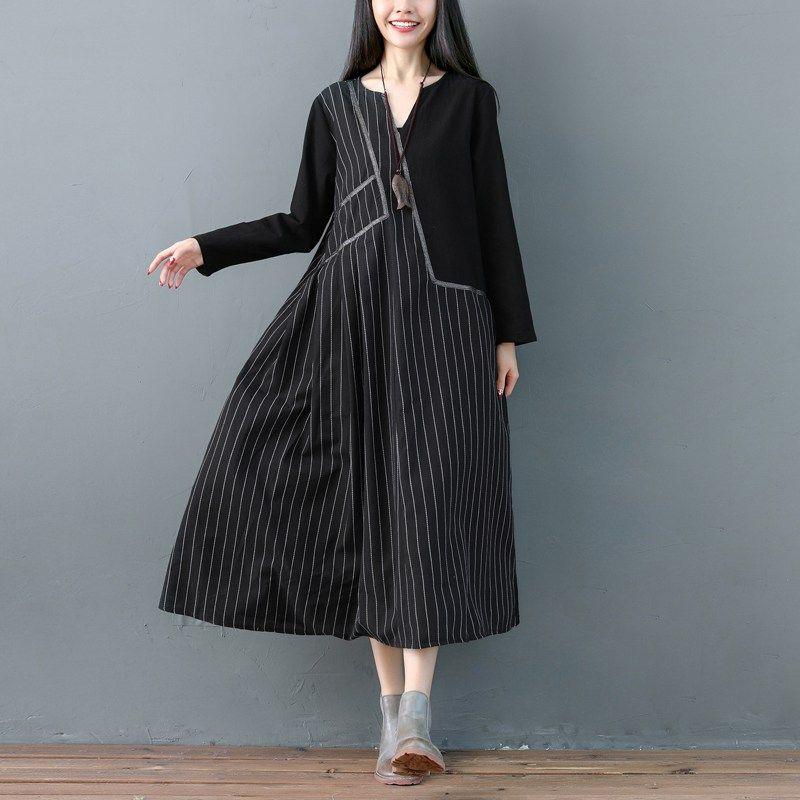 85327e2f74 2019 Mferlier Women Long Cotton Linen Dress Striped Print Female V Neck  Long Sleeve Loose Casual Autumn Dress Oversized Dresses From Songzhi