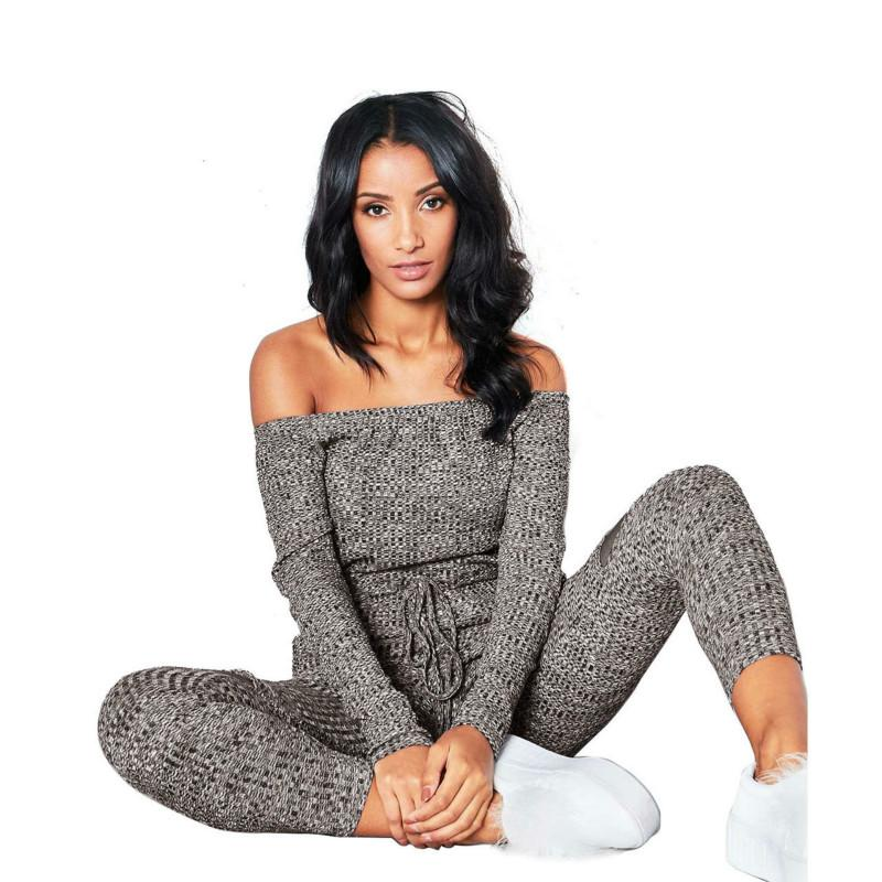 e150fd5895c 2019 S 2XL Black Gray Red Autumn Knitted Jumpsuit Plus Size Women Sexy Long  Sleeve Slash Neck Belted Skinny Jumpsuits From Ziron