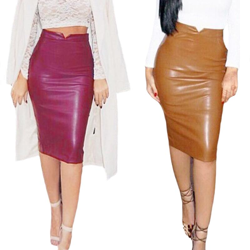 e0399eec78 Women PU Leather Long Skirt Solid Color High Waist Slim Hip Pencil Skirts  Vintage Bodycon Skirt Sexy Clubwear KH861775 Online with $28.59/Piece on ...