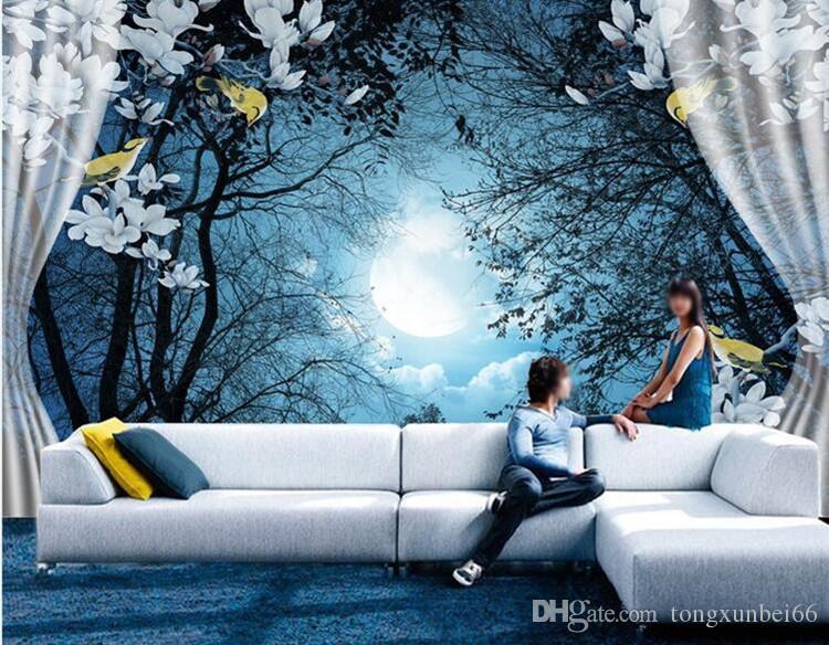 Carta da parati 3D Carta da parati Paesaggio naturale Notte tranquilla Foresta Luna Camera 3D personalizzata Paesaggio Foto Wallpaper Finestra Vista Camera da letto