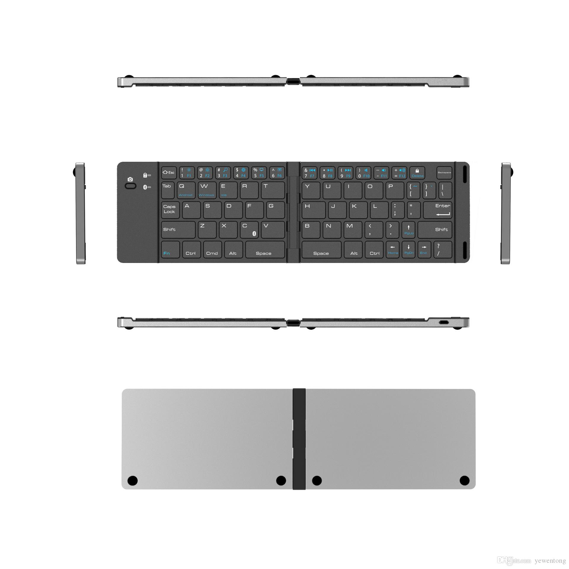 0aa6fd11ab9 Bluetooth Folding Keyboard Wireless Portable Bluetooth Keyboard With Stand  Holder Ultra Slim Pocket Size Foldable Keyboard For IOS/Android Keyboard  For ...