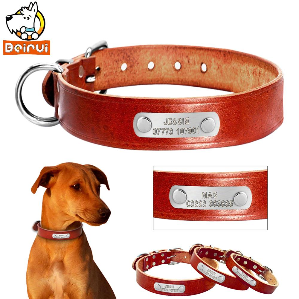 2018 customized personalized dog collar plain genuine leather