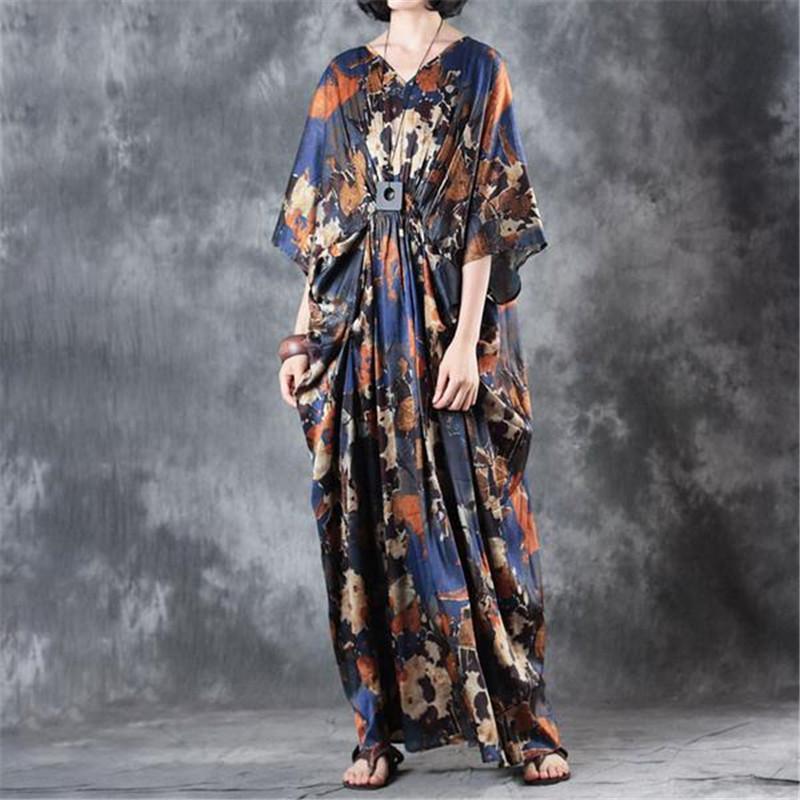 6b3be05188 Compre Buykud 2018 Verano Mujeres Con Cuello En V Impreso Plisado Azul  Vintage Vestido Maxi Poliéster De Manga Corta Vestido Suelto Vestidos  Elegantes A ...