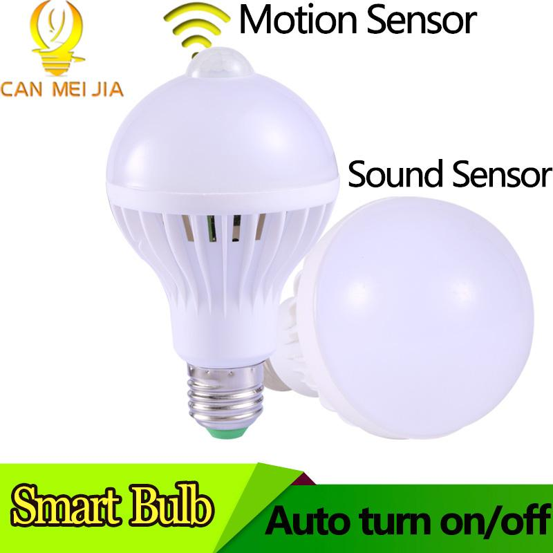 Bulb E27 Motion Sensor Led Sound Control Lamp 3W 5W 7W 9W LED Light Bulbs  Ampoule Led E27 LEDs lamp for Hallway
