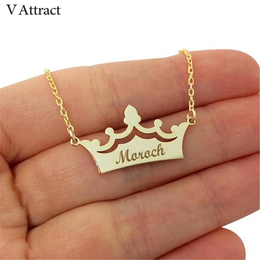 86b7c9d790745 Personalized Name Jewelry Custom Crown Name Necklace Princess Colar Engrave  Nameplate Statement Necklaces Women Wedding Gift BFF
