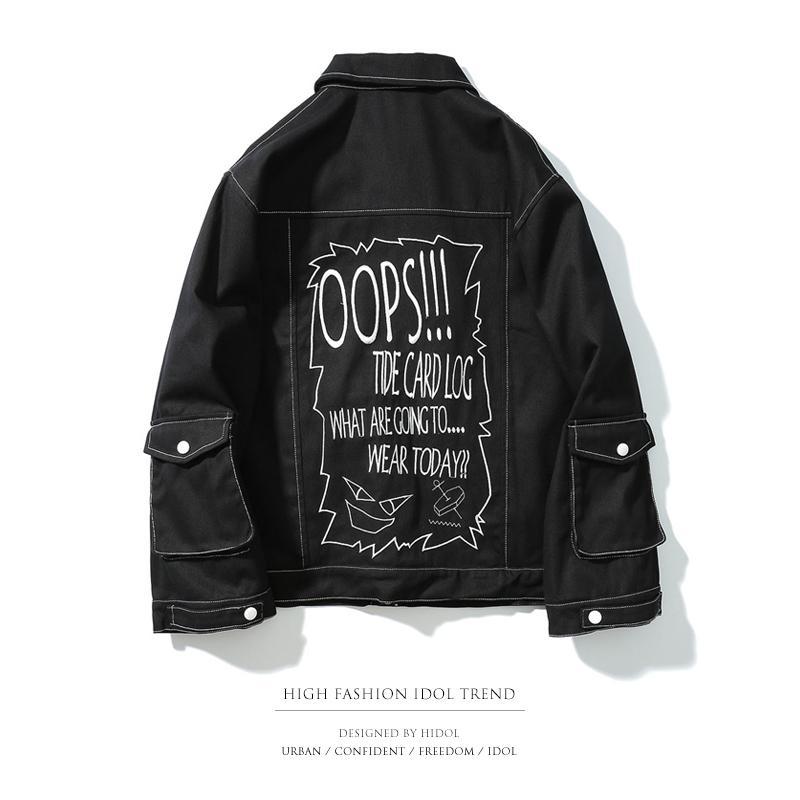 cheaper ee01c bbef9 Oversize Jeansjacke Tasche Reißverschluss Brief Stickerei Schwarz / Weiß  Mantel Männer Marke Hip Hop Streetwear Rap Punk Rock Kanye West