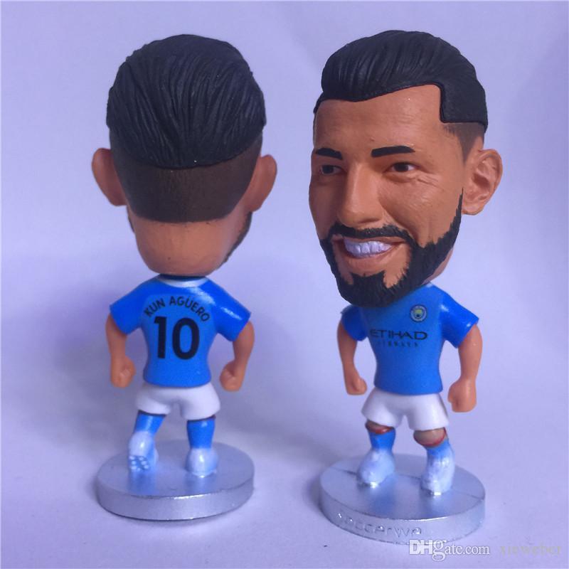 Soccerwe 6 5 cm Height Football Permier League City Player Dolls Kevin Sane  Aguero David Gundogan Jesus Figurine Blue Kit Delicate Gift