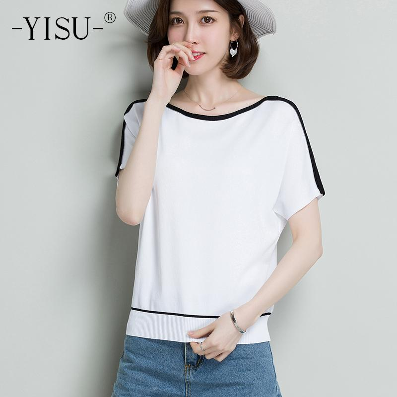 eb3697d67525c YISU Striped T Shirt Women White Knot Front Casual Short Sleeve Basic  Summer Tops 2018 Fashion Cute Knied Ice Silk T Shirt Designer Shirts White  Shirts From ...