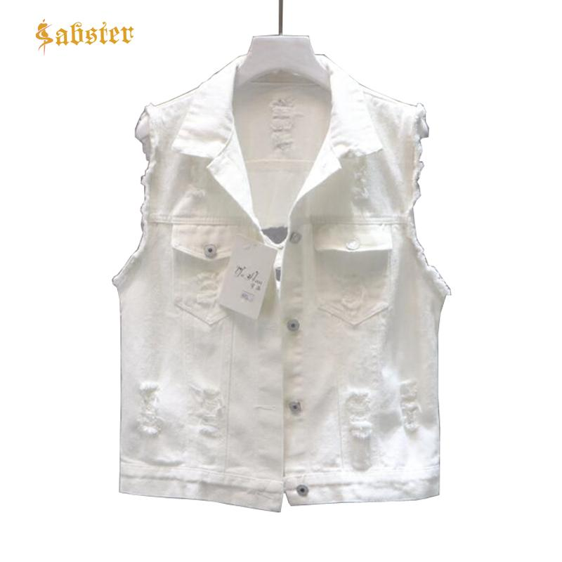 eb8423591219 2019 2018 Autumn Women White Jacket Fashion Casual Denim Vest Basic Holes  Button Jeans Vest Tops Clothing XZ472 From Junxcj