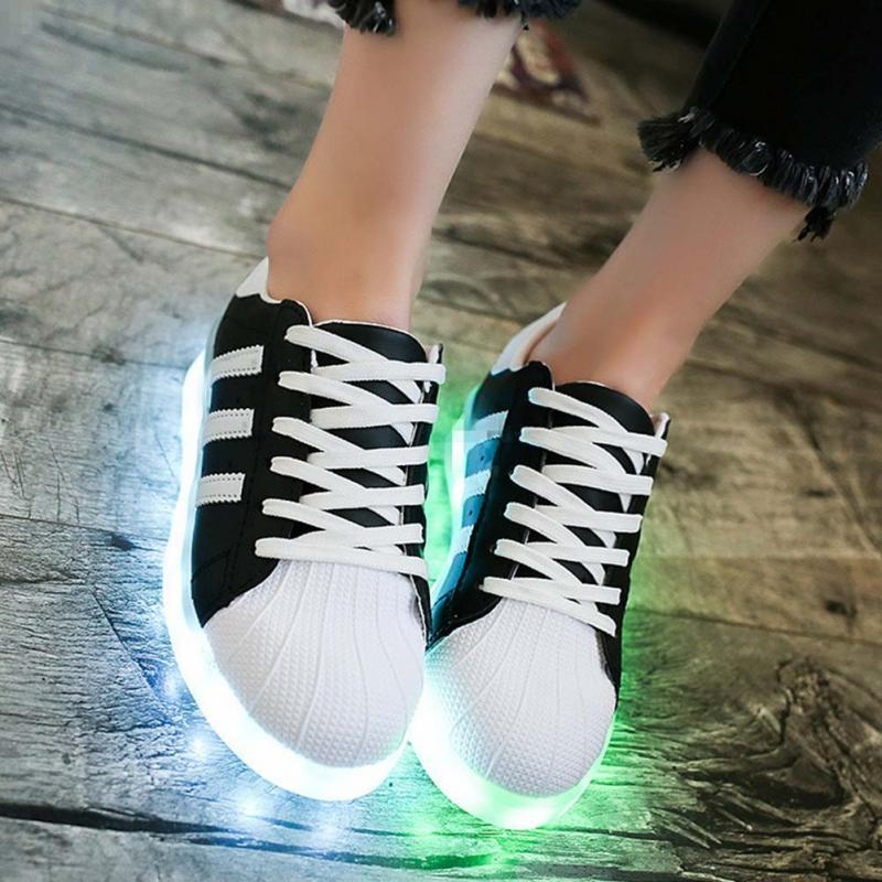 4df08a3b92ec USB Rechargeable Light LED Flashing Shoes Colorful Luminous Glowing ...
