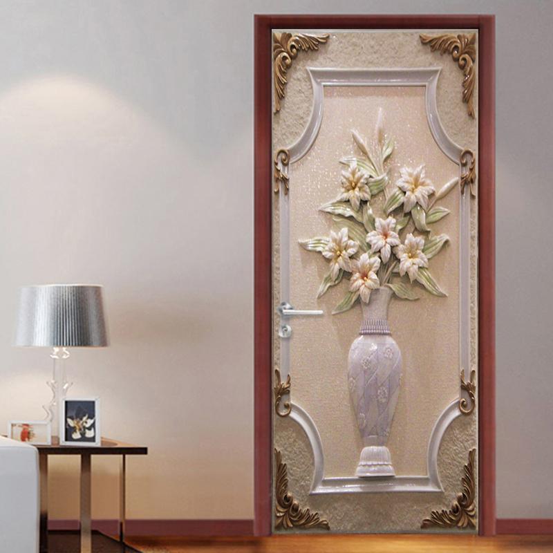 Acheter Style Européen 3D Stéréo Blanc Vase Porte Autocollant Creative DIY  Peintures Murales Papier Peint Chambre Salon Porte Mur Peinture Décor À La  Maison ...