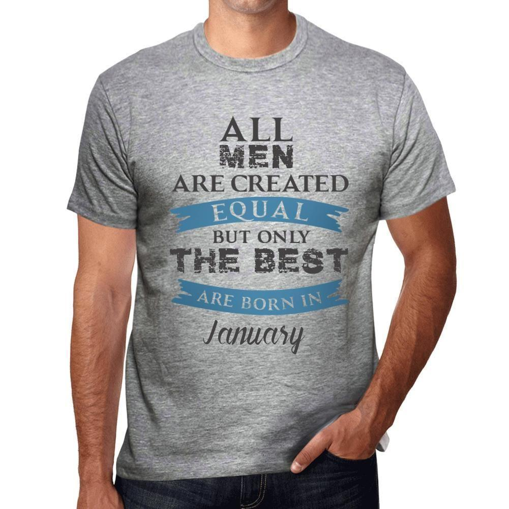 Only The Best Are Born In January Mens Printed Tshirts Grey Gift