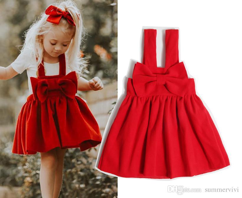 100% authentic d64fa 9563a Ragazze vestito di lana rosso inverno nuovi bambini grandi archi vestito  bretelle bambini vestiti pieghettati ragazze partito di natale  abbigliamento ...