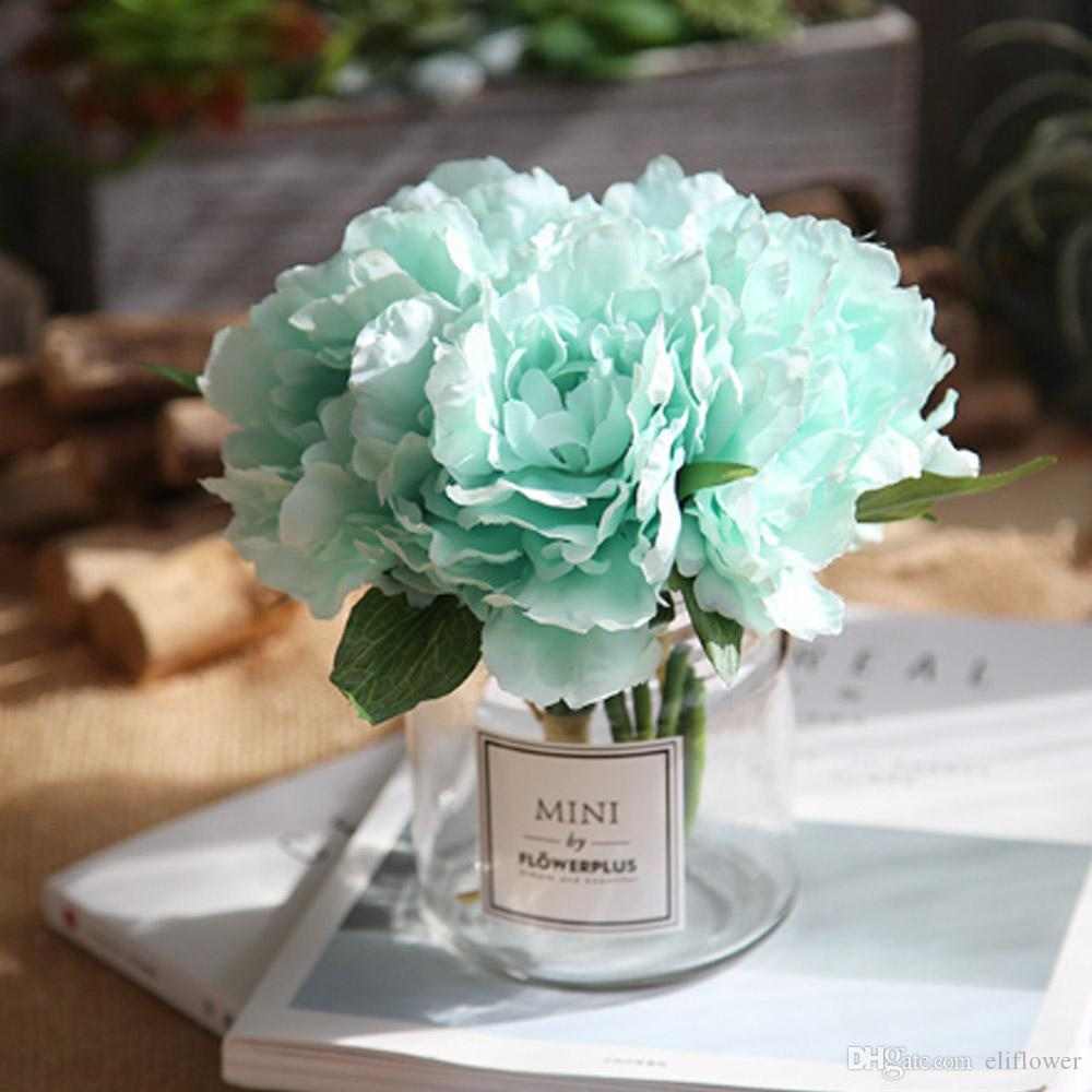 Artificial Peony Flowers Head 27cm Silk Fake Bouquet Flowers For
