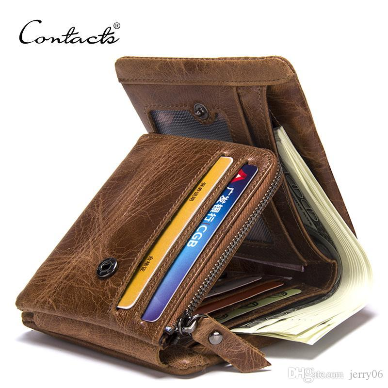 7fbc21fa0b44 CONTACT'S Genuine Crazy Horse Leather Men Wallets Vintage Trifold ...