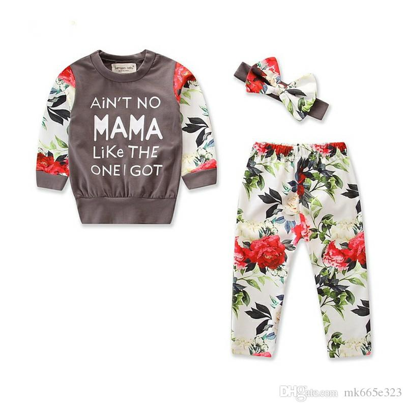 6ed328219fc0 Baby Girls Clothes Toddler Long Sleeve Flower Tops Pants Hairbands 3 Piece  Set Autumn Outfits for Children Infant Clothing Sets