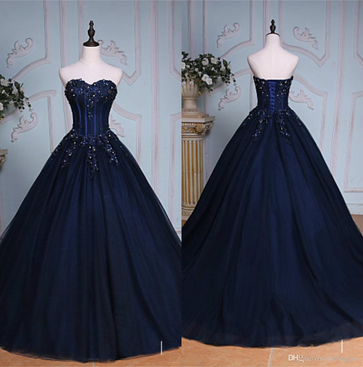 3b191ea4dfd Vintage Dark Navy Prom Dresses Shiny Exquisite Beading Lace Up Corset  Sweetheart Neck Elegant Evening Dress Ball Gowns Plus Size Black Prom  Dresses Uk ...