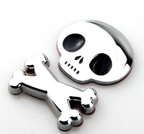 3D Metal Skull Skeleton Car Motorcycle Body Emblem Badge Fashion Crossbones Car Sticker for toyota hand ///MM