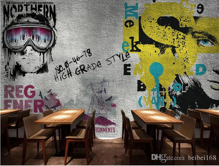 Europe Vintage Girl Boy Wallpaper Graffiti Photo Wall Mural Landscape for Bar Coffee Shop Restaurant Shop Retro Wall Paper Decor