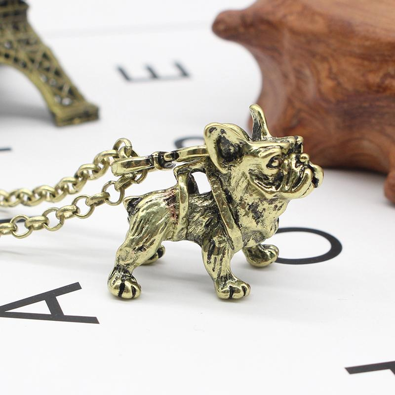 Fashion Punk Animal French Bulldog Pendant Necklace Jewelry Silver Gold Color Dog Pendant Long Necklace For Men Women