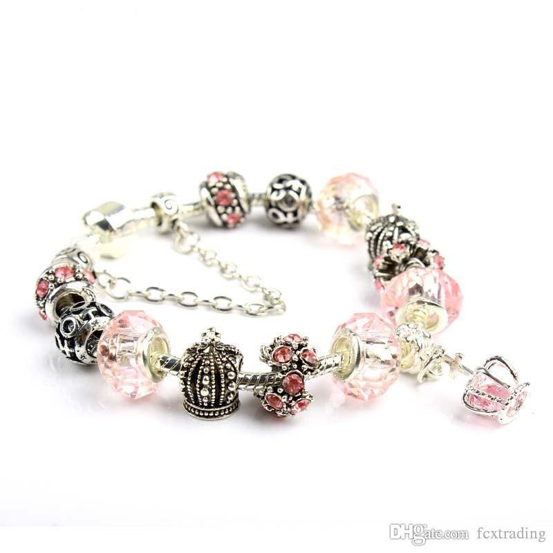 18 19 20 21CM Charm Armband 925 Silber überzog Armbänder Royal Crown Zubehör Lila Kristall Perle Diy Hochzeit Schmuck mit Box
