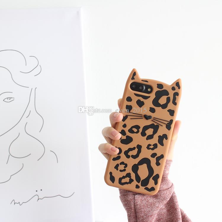 3D мультфильм Котенок Мягкий силиконовый чехол для телефона Iphone 5S 5Se животных усы леопарда кошка для Apple 6 6s 7 8 Plus случаях