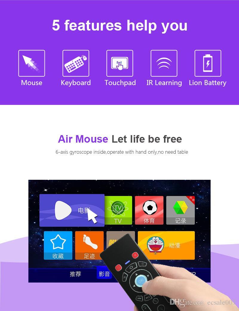 7 цветная подсветка T6 Air Mouse Клавиатура Сенсорная панель Combo2.4Ghz Беспроводной заряжаемый пульт дистанционного управления для Android Smart TV TV Box