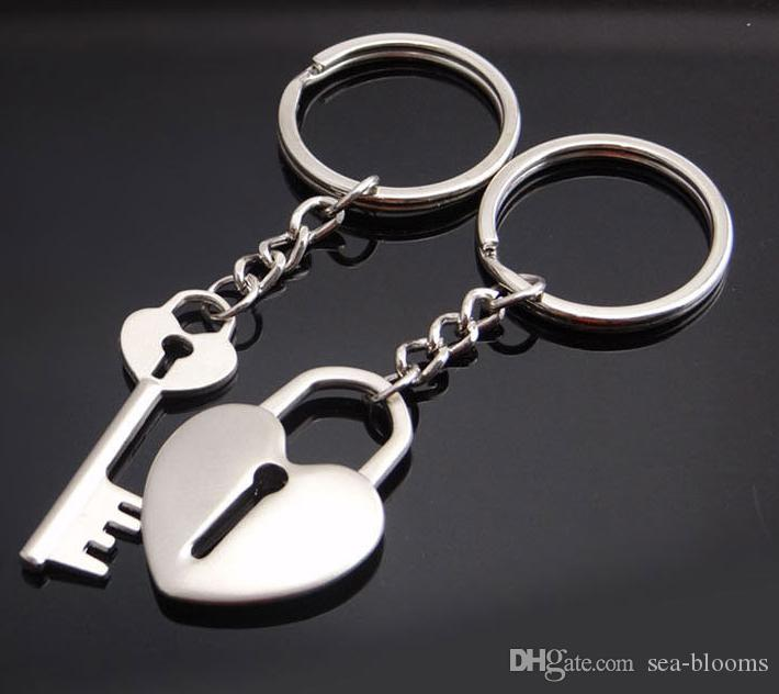 862bb40675 Zinc Alloy Silver Plated Lovers Gift Couple Heart Shaped Lock And Key  Keychain Fashion Keyring Creative Key Chain Key Fob D524L Paracord Lanyard  Keychain ...