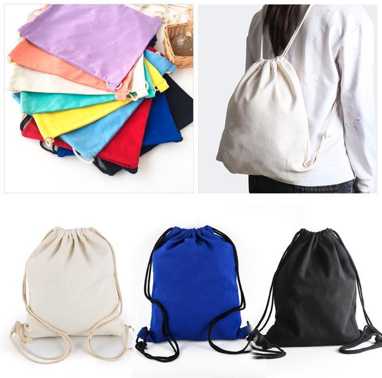 cca86a2e90 Plain Color Drawstring Cotton Canvas Linen Cloth Fabric Sport Cinch ...