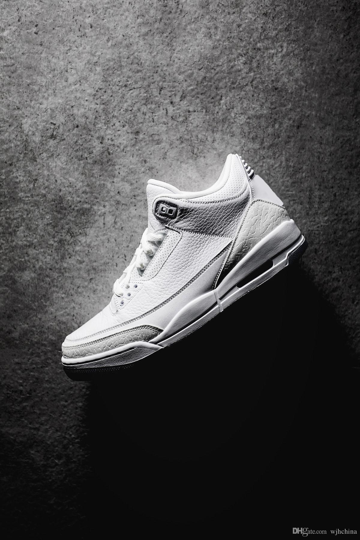 072ad28ca3df9e Hottest Top Quality 3 Pure White Cement 3s White Blue Basketball ...