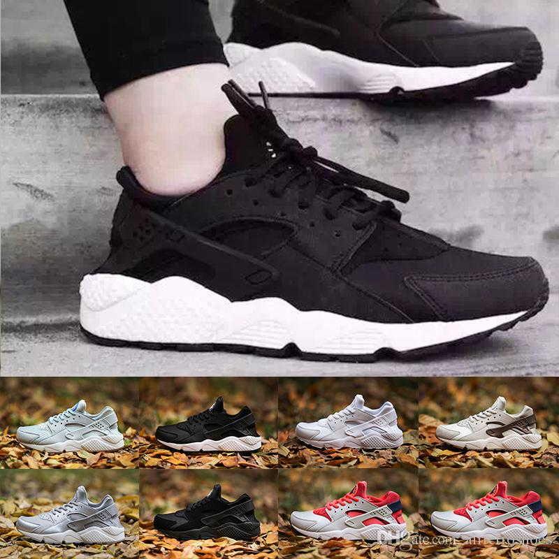 0f34bbaf723c With Box 2018 Air Huarache I Classical Triple White Black Red Gold Men  Women Huarache Shoes Huaraches Sports Sneakers Running Shoes 36 45 Trail  Running ...