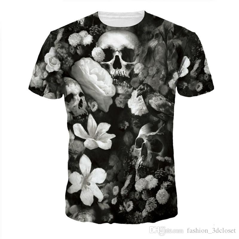 1e61f2e0271b Vintage Flower Casual T Shirt Men Skull 3D Tops Plus Size Short Sleeve T  Shirts Die Skulls Printed T Shirt Fitness Streetwear Funny T Shirts Cheap  As T ...