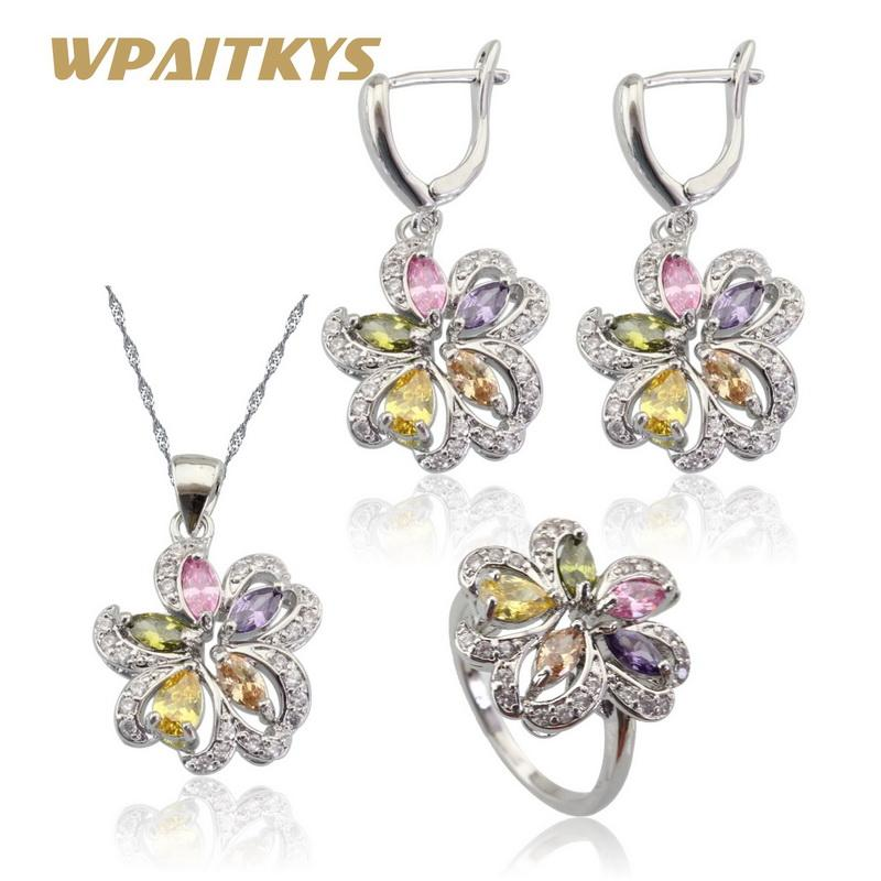 f5f69705a97 Whole SaleMulticolor Stones Cubic Zirconia Silver Color Jewelry Sets For  Women Necklace Pendant Earrings Rings Free Gift Box WPAITKYS Vintage Wedding  ...