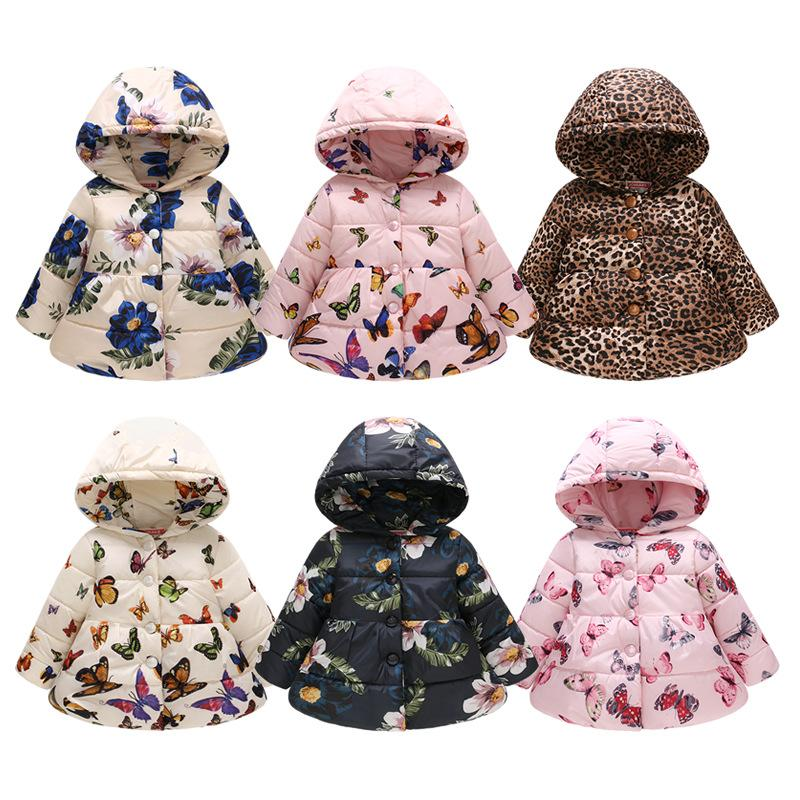 94c5087bbb6d Baby Girl Jacket 2018 Autumn Winter Fashion Printing Warm Hooded ...