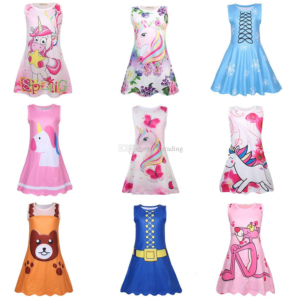 191e603e7085 2019 Baby Girls Rainbow Unicorn Pink Panther Print Dress Children  Sleeveless Princess Dresses Cartoon Summer Boutique Kids Clothes C5584 From  Hltrading