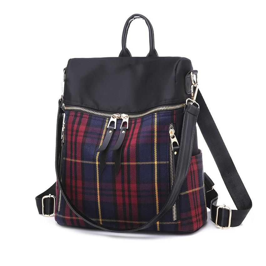 0573d59b27 New Brand 2018 New Female Bag Oxford Cloth Shoulder Bag Female Wave Fashion  Wild Travel Canvas Lattice Backpack For Women Back Packs Rolling Backpacks  From ...