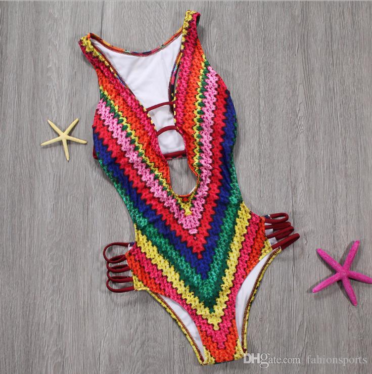 ارتداءها للنساء الصيف مثير المايوه الطباعة الرقمية rainbow قطعة واحدة المايوه الجسم feminino الأزياء مثير ارتداءها