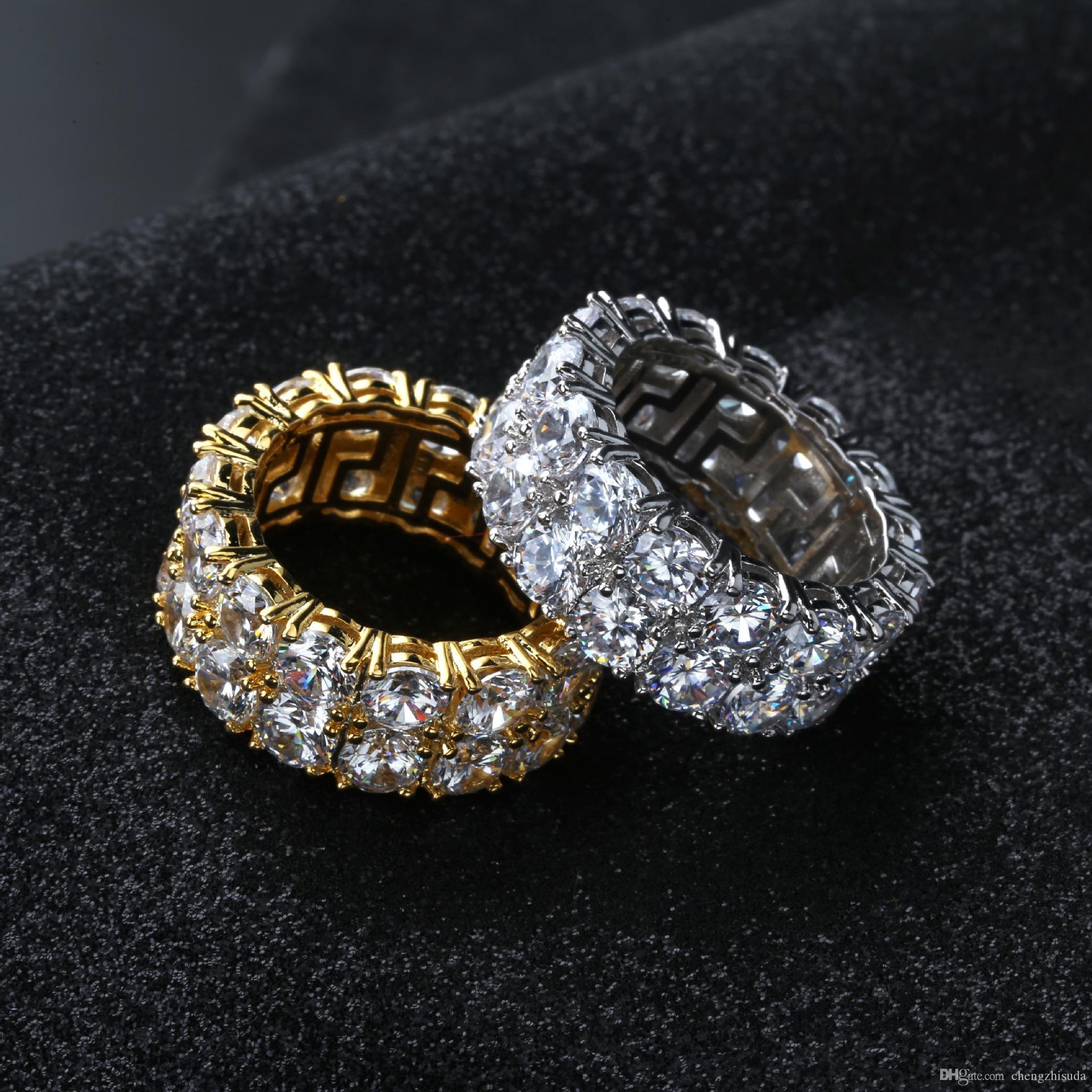 Boyutu 7-12 Hip Hop 2 Satır Yuvarlak Solitaire Zirkon Tenis Yüzük Erkekler Kadınlar için Altın Gümüş Renkler