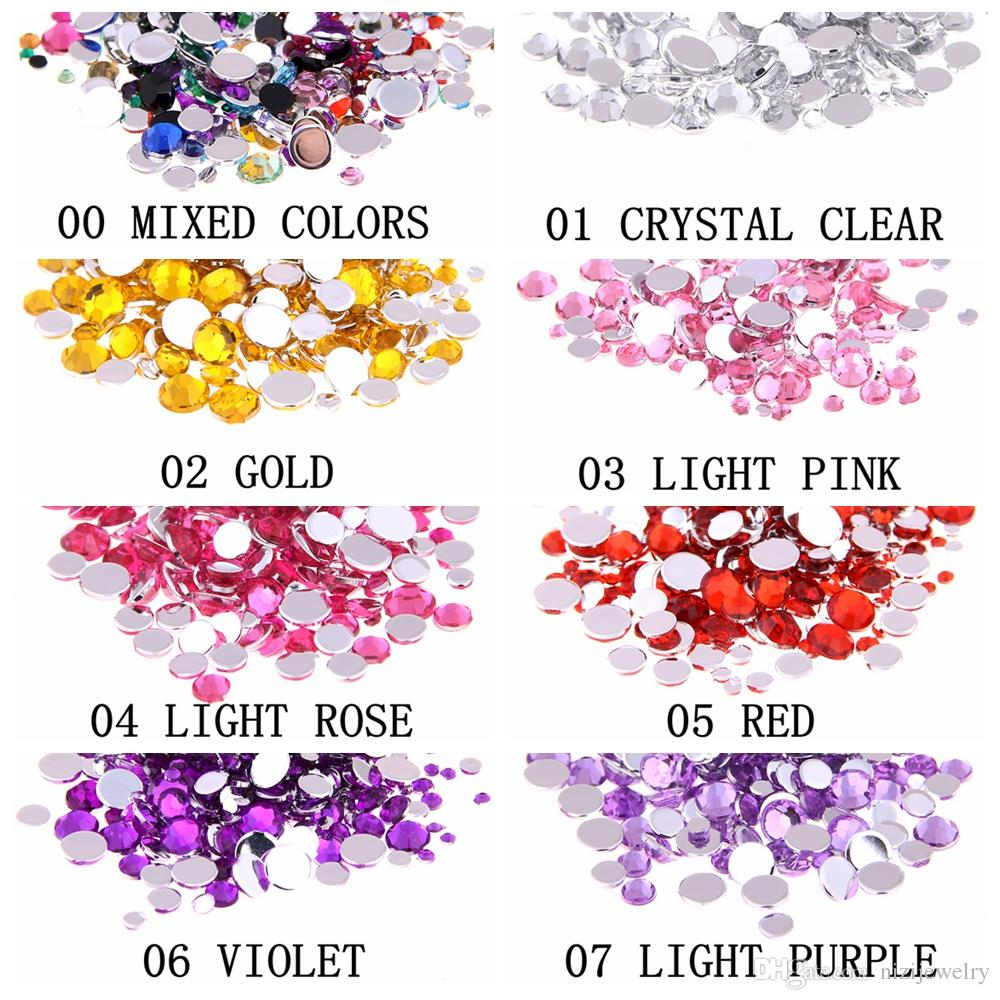 Many Sizes Light rose Color Acrylic Rhinestones hoes Shining Nail Art Decorations Clothing Decorations